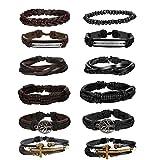 Milacolato Arbre de Vie Multicouches Bracelet Cuir pour Hommes Femmes Tressé Bracelet Wrap Perles de Bois Charmes Fait à La Main Réglable,12PCS