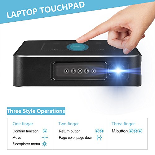 Yuancin Mobile Pico Video Projector 1080P HD, Touchpad Multimedia Wireless Portable Mini Home Entertainment LED Projector,Support 150