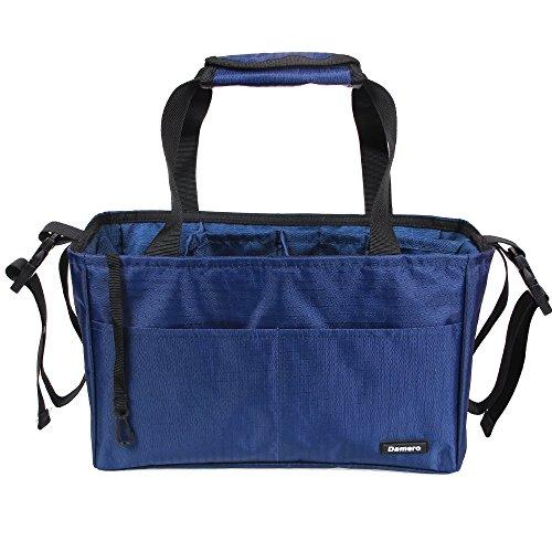 Damero Tasche in der Tasche Insert Organiser Handtasche Wasserdichte Tasche für Frauen Pflegetasche/Geldbeutel/Windelbeutel/Rucksack mit Griff und Kinderwagen-Haken (Dunkelblau) (Geldbörse Haken)
