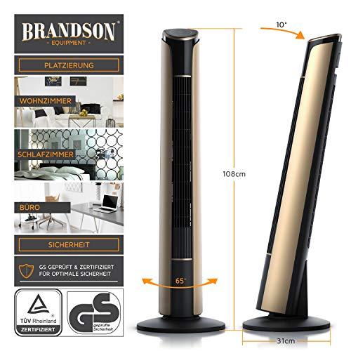 Brandson – Turmventilator mit Fernbedienung 108 cm | Ventilator 10° neigbar | Standventilator mit Oszilation | 65° oszillierend | 3 Geschwindigkeiten 4 Lüftungs-Modi Timer | GS | Schwarz/Gold kaufen  Bild 1*