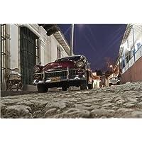 Stampa su legno 100 x 70 cm: Oldtimer Trinidad Cuba di Juergen Held