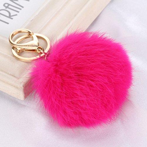 Primi lovely creative pompom ball ciondolo portachiavi borsa fascino portachiavi regalo, pelliccia ecologica, rosy red, 8cm长