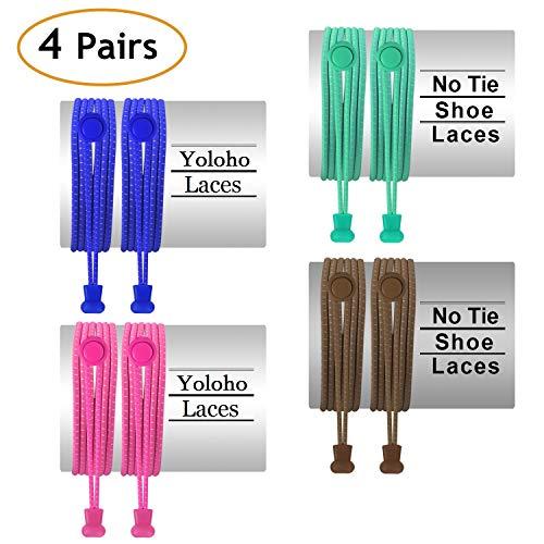 Yoloho Keine Krawatte Schnürsenkel - Packung mit 4, elastischen Schnürsenkeln für Kinder und Erwachsene, Die meisten Schuhe passen (4 Colors)