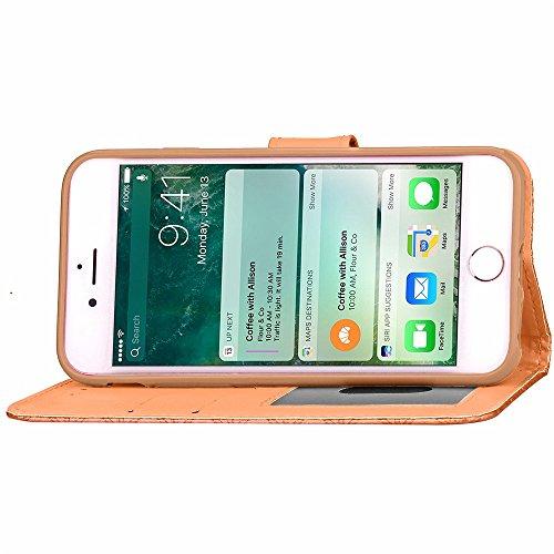 iPhone Case Cover Étui de couleur solide étui de diamant trousse d'effet 3D étui de support de porte folio avec courroie de main pour IPhone 7 ( Color : Red , Size : IPhone 7 ) Gold