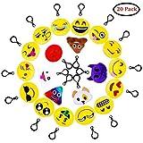 QMAY Lot DE 20 Mini Emoji Porte-clés en Peluche Mignon Émoticône Emoji Emoji Sac à Dos Pendentif pour Décorations Enfants Cadeau de Fête Noël Party ,soirée ,Anniversaire,Cadeau de Pâques...
