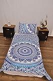 indischen blau weiß Urban Azteken Outfitters Wandteppich Mandala Überwurf Tagesdecke Gypsy Boho Single Twin Doona Bettdeckenbezug und 1Kissenbezug Set 100% Baumwolle 203,2x 137,2cm...