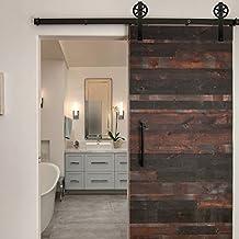 Kit de montaje de puerta corredera única estilo granero, de la marca Isasar, de madera, negro
