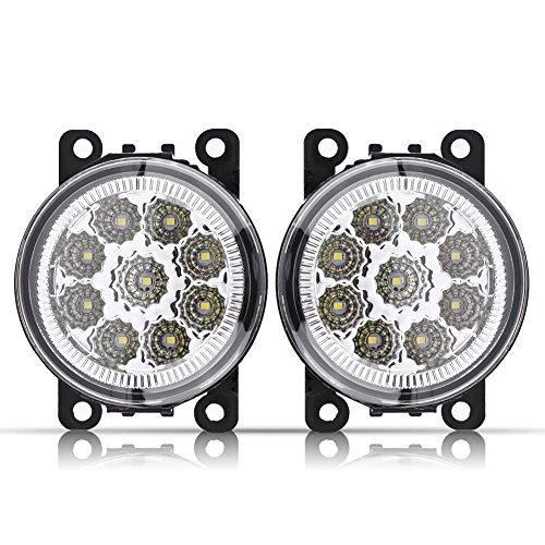 Qiilu QL01614 9 LED Faretto fendinebbia anteriore rotondo DRL Luce di marcia diurna(White)