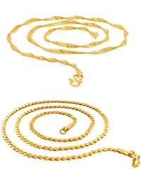 Ri & Ji Combo Of 2 Gold Plated Chains For Women (24 Inch) (Golden)