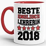 Tassendruck Tasse Beste Englisch-Lehrerin/Schule/Abi/Abschied/Lehrer-Geschenk/Geschenk-Idee/mit Spruch/Innen & Henkel Rot