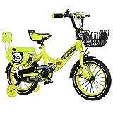 QXMEI Fahrrad Faltendes Fahrrad der Kinder 2-4-6-7-8-9-10 Jahre Altes Jungenfahrrad,Yellow-18Inches