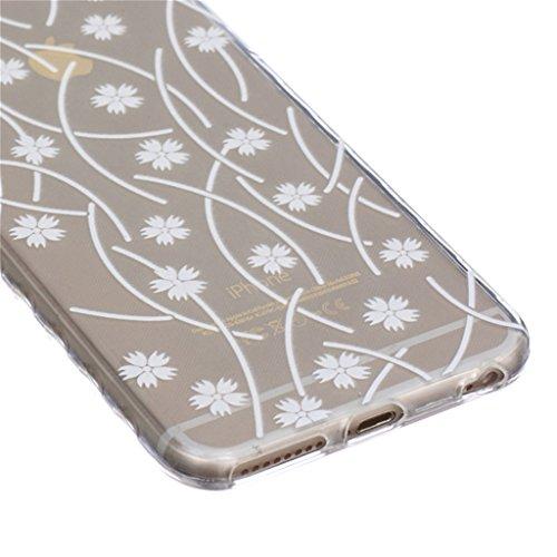 iphone 6 Plus Coque, MYTH Doux Flexible - Coloré Parapluie Slim Silicone Ultra Mince TPU Bumper Protection Housse Pour iphone 6 Plus / iphone 6s Plus Solide Couleur Fleurs
