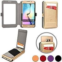 Cooper Cases Funda Deslizable Abatible tipo Cartera (TM) Slider Flip para Smartphone de Huawei Ascend G740 (Orange Yumo), Y520, Y530, Y550 en Oro