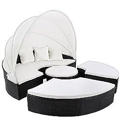 Deuba Poly Rattan Sun Island Ø185cm black | foldable sunshield | 7cm thick seat pads cream | 3 Comfortable pillows - Lounger Lounger Lounge Lounger Garden furniture without table