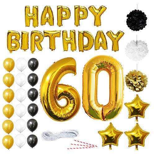 BELLE VOUS 60 Cumpleaños Decoracion - Globos de Cumpleaños Guirnalda - Globos de Helio para el Aniversario de Boda, Fiesta Décor para Niña Niño Hombre Mujer (números 60 Happy Birthday) - Regalos Kit