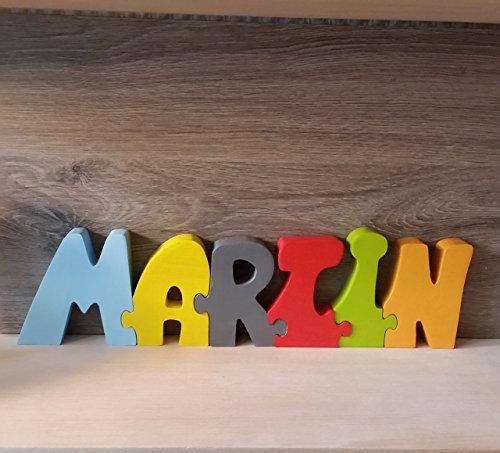 Lettres prénoms en bois Martin, entièrement fabriqué à la main en France