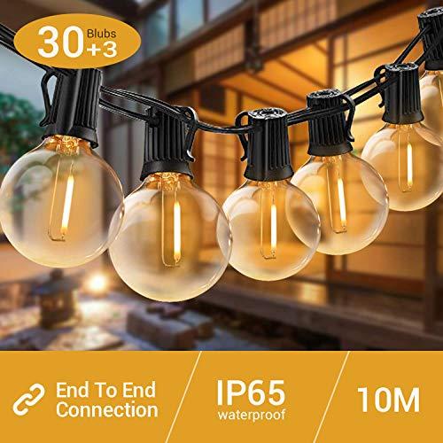 LED Lichterkette G40 Glühbirne 30+3er Elegear Warmweiß Weihnachtsbeleuchtung IP65 Wasserdichte 10m erweiterbar für Innen Außen Neujahr Weihnachten Geburtstag Feiertag Party Hotel Garten Hochzeit -