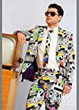 Erwachsene Herren 80er Jahre Test Karte Anzug Kostüm Medium (EU50 UK40)
