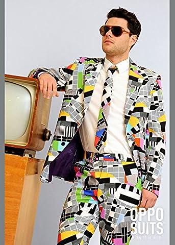 Erwachsene Herren 80er Jahre Test Karte Anzug Kostüm Small/Medium (EU48 UK38) (80 Anzug Kostüm)