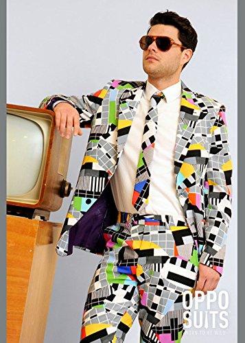 Erwachsene Herren 80er Jahre Test Karte Anzug Kostüm Medium/Large (EU52 - 90er Fancy Dress Kostüm