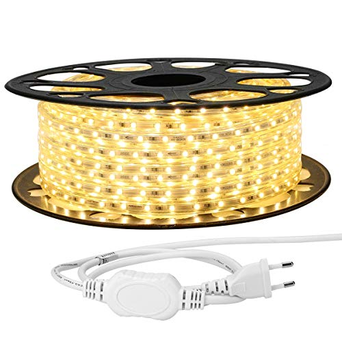 LE 25M LED Stripes 230V, 3528 SMD LEDs, 220V-240V LED Streifen, Superhelle warmweiß, IP65 wasserdichte außere dekorative Lichterketten