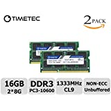 Timetec Hynix IC 16GB Kit (2x8GB) DDR3 1333MHz PC3-10600 Unbuffered Non-ECC 1.5V CL9 2Rx8 Dual Rank 204 Pin SODIMM Laptop / Notizbuch Arbeitsspeicher Module Upgrade (16GB Kit (2x8GB))
