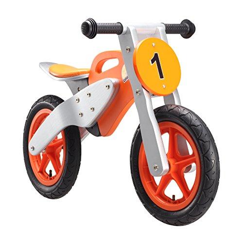 BIKESTAR Kinderlaufrad Lauflernrad Kinderrad für Jungen und Mädchen ab 3-4 Jahre ★ 12 Zoll Kinder Laufrad Holz Motorrad ★ Orange