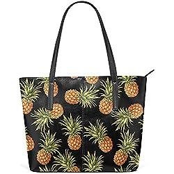 G.H.Y Sac fourre-Tout à bandoulière en Cuir PU Noir d'ananas pour Femmes Filles