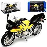 B-M-W R1100S Gelb mit Schwarz mit Sockel und Vitrine 1/24 Atlas Modell Motorrad mit individiuellem...
