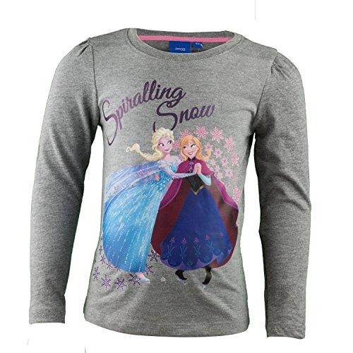 Verziert Long Sleeve Jersey-t-shirt (Purzelbaum Disney Die Eisknigin Langarmshirt Aus 100% Baumwolle, Prinzessin Langarm T-Shirt FR Mdchen mit Elsa und Anna Aus Frozen - Shirt Farbe: Grau, Gr 102)