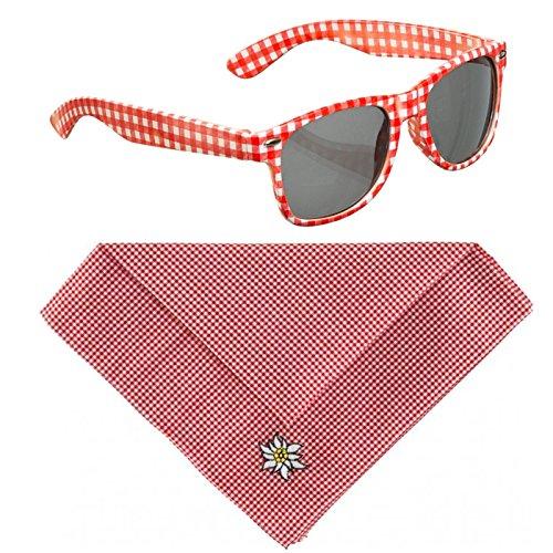 Kostüm Set Brille und Halstuch rot weiß kariert Volksmusik Schlager Sonnenbrille