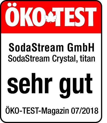SodaStream CRYSTAL 2.0 Glaskaraffen Wassersprudler zum Sprudeln von Leitungswasser, mit spülmaschinenfester Glasflasche für Sprudelwasser. inkl. 1 Zylinder und 2 Glaskaraffen 0,6l; Farbe: Titan/Silber - 7