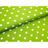 0,5m Stoff Sterne groß in hellgrün-weiß Meterware Motivgröße ca. 2cm Stoffbreite ca. 1,4m