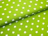 0,5m Stoff Sterne groß in hellgrün-weiß Meterware