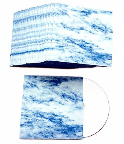 CD Hüllen aus Karton in Design Wolkenhimmel Blau-Weiß bedruckt, CD Kartonstecktaschen (Papphüllen) für je 1 CD/DVD/Blu-ray Rohling 50er Pack - Made in Germany (Slim Dvd-hüllen Farbig)