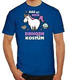 Fasching Karneval Herren T-Shirt mit Das ist mein Einhorn Kostüm 2 Motiv von ShirtStreet, Größe: XXL,royal blau