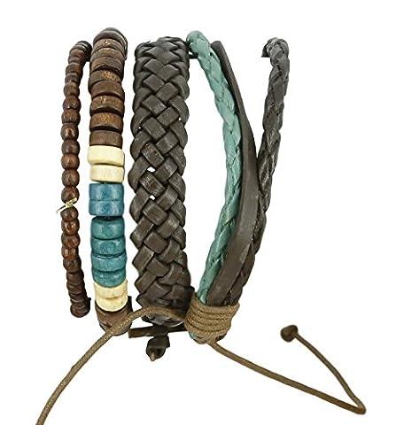 indien Cuir Corde coloré Perle Bracelet Bracelets pour homme Fait à la main.