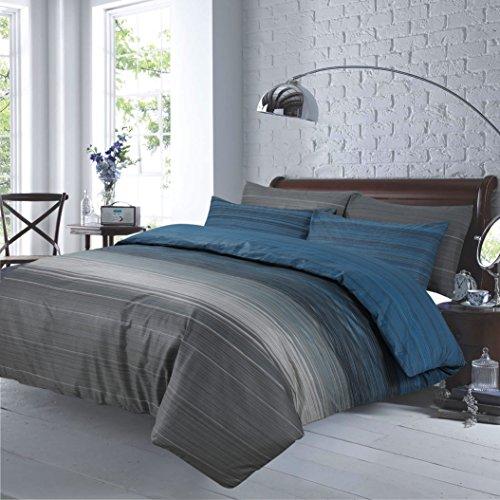 Super King Size 100% Baumwolle Luxus Bettbezug Set mit 2Kissen grau gestreift (220x 260cm) -