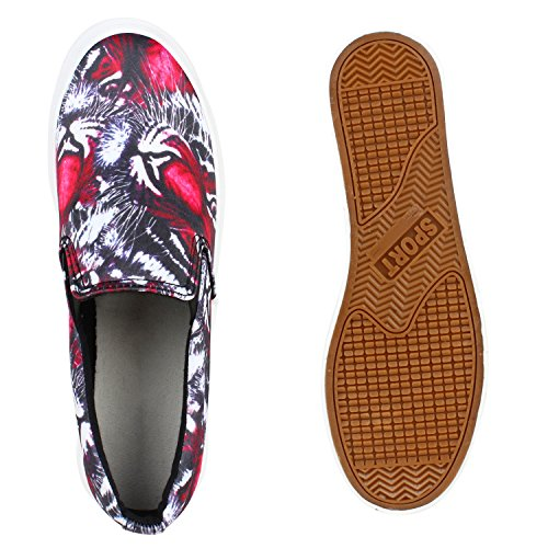 Damen Slip-ons Dandy Slipper Fransen Lack Plateau Schuhe Rot Muster
