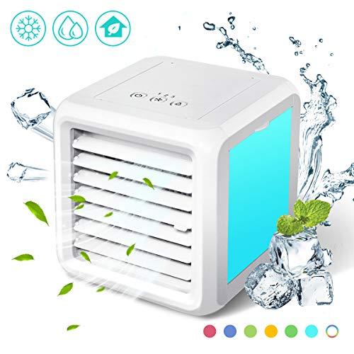 Baban climatizzatore portatile mini freddo,Più serbatoi d'acqua capacità di 700 ml,Lavoro di alimentazione USB, adatto per casa, camera da letto, ufficio, camper(Con una presentazione video)