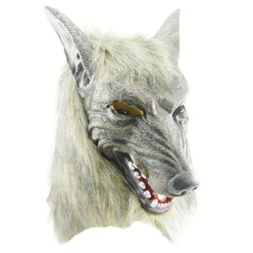 Youpin Creepy Wolf Kopf Latex Maske weiß Awful Werewolf Face Terror Head Halloween Tier Prop Spielzeug gedreht werden Cosplay Partei Kostüm Masquerade Kostüm für Kinder und Erwachsene