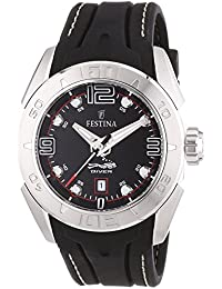 Festina Men's Quartz Watch with Black Dial Analogue Display and Black Rubber Strap f16505/3