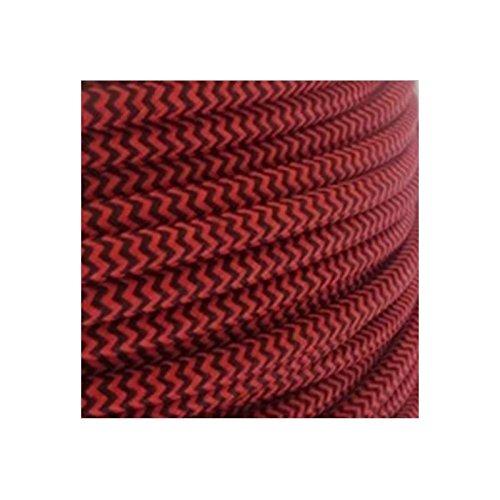 Fil électrique tissé fresque rouge/noir vintage look retro en tissu