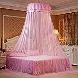 MINGXIO Moskitonetz zur Erhöhung der Deckenhaubenspitzenprinzessin frisches Moskitonetz, zum des klebrigen Hakens, Rosa zu senden