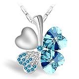 Joyfulshine Collar Mujer Azul Cristales Trébol Colgante Forma del Corazón Oro Blanco 18K Plateado,Regalo De La Suerte para La Mchacha Y La Señora