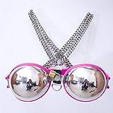 Weibliche Sexy Edelstahl BH Keuschheitsgürtel Erwachsene Paare Spielzeug Dessous Für Frau,Pink