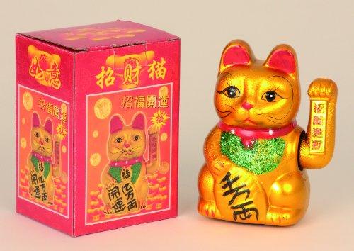 Chat porte-bonheur chinois à patte mobile 17cm
