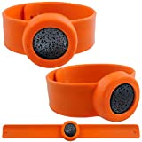 Lava Mosquito Repellent Bracelet Lava Essential Oil Diffuser Bracelet Wrist Band Bug Zapper Children Men Women Lava Silicone Bracelets Adjustable Outdoor and Indoor for Adults and Kids(Orange)