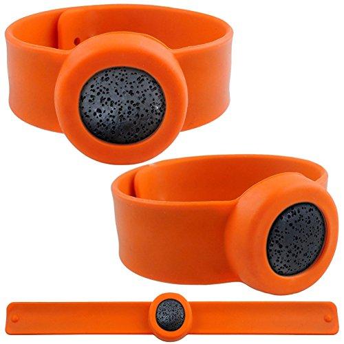 VOOYE verstellbar Mückenschutz Armband Lava ätherisches Öl Insekten Ablehnen Silikon Armband für Kinder Adullt (orange) (Orange Aromatherapie)