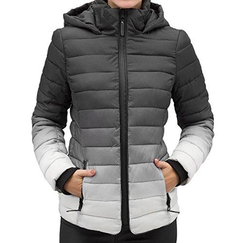 e mit Farbverlauf | Warme Damen Winterjacke gefüttert mit Kapuze dark-grey M (Dark Angel Outfit)